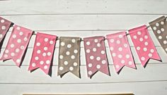 Pink Polka Dot Banner, Baby Shower Banner Girl, Pink, Girls Photo Prop, Girls Bedroom Decoration, Pink Garland, Birthday party  Banner. $26.00, via Etsy.