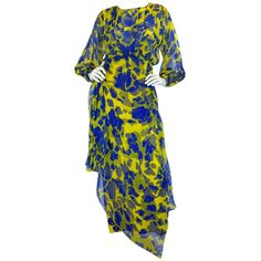 1970s James Galanos Couture Blue & Yellow Print Silk Dress