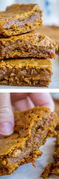 Pumpkin Caramel Swirl Bars from The Food Charlatan. These are a gooey, decadent treat! The bars are fudgy and brownie-like, in the center is a layer of caramel that melts in your mouth. The cinnamon and pumpkin flavors make it a perfect dessert for fall! These are a great make ahead treat because they stay soft for days.