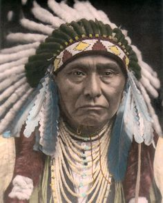 "CHIEF JOSEPH NEZ PERCE NATIVE AMERICAN INDIAN 11x14"" HAND COLOR TINTED PHOTO #ebaycollections"
