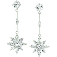 Silver and CZ Star Dangle Earrings