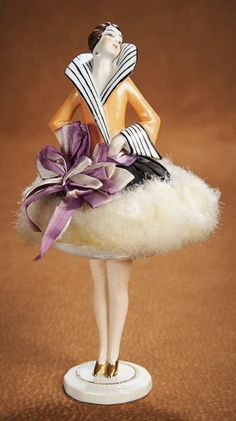 Porcelain Flapper Half Doll with Original Powder Puff Skirt on Porcelain Base A very desirable art deco piece.    http://Theriaults.com/