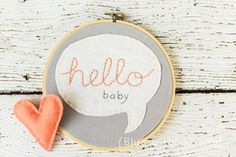 Embroidery Hoop Art Hello Baby - Gray Cotton, White Linen and Peach / Coral Thread on Etsy, $27.00