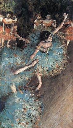 Edgar Degas (1834-1917), The Green Dancers (1877-79), pastel and gouache, 36 x 66 cm. Collection of Museo Thyssen-Bornemisza, Madrid, Spain. Via The Red List.