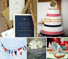 nautical inspiration wedding board ropes anchors wedding cake bunting invitations bouquet stripes sailboats