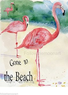 FLAMINGO~3 Pink Flamingos Gone to The Beach Nautical Ocean Sea Wall Art | eBay