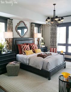 HGTV Dream Home master bedroom - like the   bed/masculine feel/textures