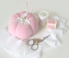 Pincushion PINK SHABBY CHIC by BelleCoccinelle on Etsy,