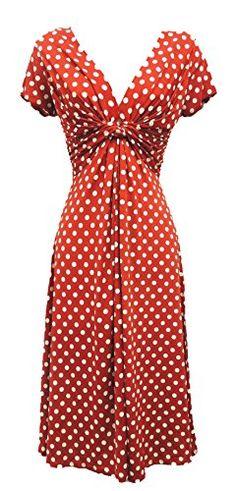 New Ladies Red Deco Polka Dot Vtg Retro WW2 Land girl 1940s/50s Pin-up Tea Dress Viva-la-Rosa http://www.amazon.co.uk/dp/B00OBH24UC/ref=cm_sw_r_pi_dp_ih-owb0SR1ZD5
