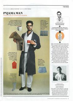 """Derek Rose sleepwear featured in ES Magazine's """"Pyjama Man"""" feature."""