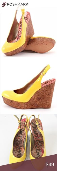 Sam Edelman Mallory Wedge Citron Yellow Sandals Step up your style profile with the Mallory. This Sam Edelman wedge features a glossy citron yellow patent upper with closed toe and slingback strap. A cork covered 4 1/2 inch wedge and 1 inch platform.  They are in overall very good condition, except for stains on sides, showing in the last photo. Sam Edelman Shoes Platforms