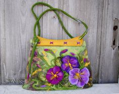 Unique felted bag with 3D flowers with wooden vintage by filcAlki, $149.00