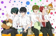 Free! - Starting Days, haruka nanase, makoto tachibana, Ikuya Kirishima, Asahi Shiina. PokemonXFree Crossover.
