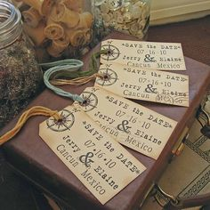 travel wedding theme - suitcase tag save the date! Vintage Wedding Save The Dates, Destination Wedding Save The Dates, Rustic Save The Dates, Destination Wedding Inspiration, Destination Wedding Invitations, Our Wedding, Wedding Ideas, Wedding Stuff, Destination Weddings