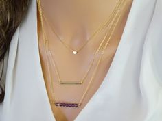 Layered Necklace Set with Heart Necklace Gold bar by LAminiJewelry