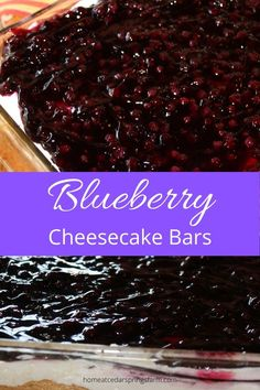 Blueberry Cheesecake Bars--Graham cracker crust with a creamy cheesecake center and topped with blueberry pie filling. Healthy Cheesecake Recipes, Blueberry Cheesecake Bars, Easy No Bake Cheesecake, Baked Cheesecake Recipe, Classic Cheesecake, Easy To Make Desserts, Fun Easy Recipes, Sweet Recipes, No Bake Treats
