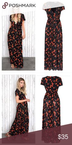 ASOS Black Spanish Floral Maxi Dress I absolutely LOVE this dress but it was just too big and long on me. NEVER WORN & TAGS STILL ON. Glamorous women's black spanish floral printed maxi dress. Floor length maxi skirt with a fitted body. Short sleeved with a deep v cut neckline.  Length: 148cm  Material: 100% Viscose ASOS Dresses Maxi
