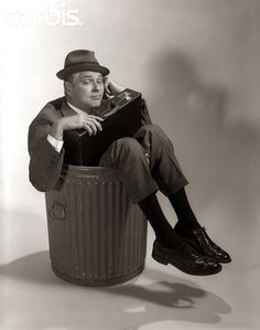H. Armstrong Roberts - Fired Businessman Sitting In Trash Can. 13th April, 1967. S)