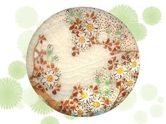Button ~ Late 19th C. Japanees Satsuma Pottery Wreath of Posies