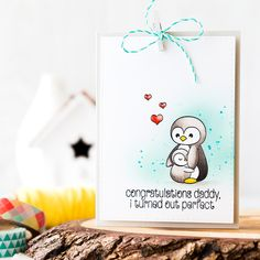 Cute Father's Day card. Find out more by clicking on the following link: http://limedoodledesign.com/2016/05/cute-fathers-day-card/ penguin
