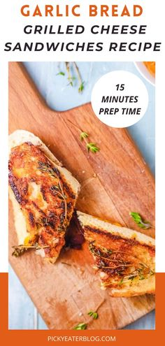 This garlic bread grilled cheese sandwich is an easy to prepare dinner idea. This is easy to make, healthy, kid-friendly, and is absolutely delicious! You can pair it with your favorite soup for a light dinner or easy lunch idea. This recipe uses a homemade garlic bread, melted cheese, and French onions. This is a quick and easy recipe that will make meal prep for breakfast, lunch, or dinner easy. This is a gourmet version of the traditional grilled cheese sandwich.t #thepickyeater #easyrecipe Make Garlic Bread, Homemade Garlic Bread, Vegetarian Recipes Dinner, Dinner Recipes, Ultimate Grilled Cheese, Grill Cheese Sandwich Recipes, Quick Easy Meals, Food Processor Recipes, Meal Prep