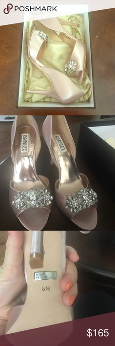Badgley Mischka heels Never worn, even has the duster bag in the box. These are really fancy shoes with a design in the front. They're perfect for very dressy events. Price is negotiable but please be reasonable due to the condition. Badgley Mischka Shoes Heels