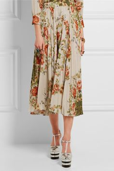 Gucci for NET-A-PORTER - Pleated Floral-print Silk Midi Skirt - Ecru - IT48