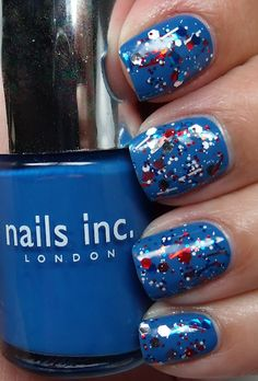 Fourth of July nails! Just get blue nail polish and some red, white and blue stars with clear nail polish.