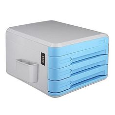 details about document pen holder lock file organizer paper sorter office desk 3 drawers blue
