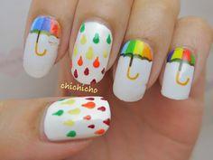 Rainbow Umbrella Nail Wrap | chichicho~ nail art addicts #LellowBrasil #Nail #NailArt