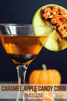 This Caramel Apple Candy Corn Martini is the perfect fall cocktail! What's better than Caramel Apples and Candy Corn? Fall Cocktails, Fall Drinks, Holiday Drinks, Party Drinks, Cocktail Drinks, Mixed Drinks, Alcoholic Drinks, Beverages, Candy Apples