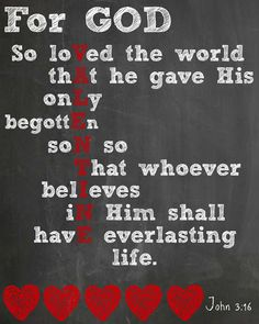 A free chalkboard Valentine's Day printable by Designer Trapped in a Lawyer's Body, featuring John 3:16.