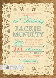 Adult Birthday Invitation Lace Burlap Chic by digibuddhaPaperie