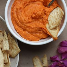 Smoky Roasted Red Pepper Cannelini Dip + Pita Chips