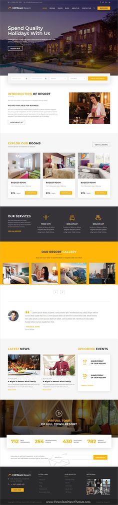 HillTown is a clean and modern design 4in1 responsive #bootstrap HTML #template for beautiful #hotel and #resort website to download & live preview click on image or Visit 🡽 #webdev
