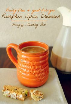 "#NationalCoffeeDay The better-for-you, Dairy-free Pumpkin Spice Creamer with the flavors of Fall. This creamer can be made in about 5 minutes and will last the whole week. It's actually made with ""real"" food ingredients, so you don't have to feel guilty about indulging in this Fall favorite treat! #dairyfree"