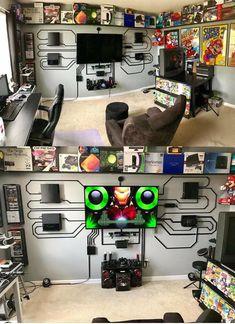 Computer Gaming Room, Gaming Room Setup, Gaming Rooms, Desk Setup, Nerd Room, Gamer Room, Game Room Decor, Room Decorations, Nerd Decor
