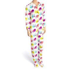 PJ Couture Ivory Elephant Plush Footie Pajamas ($18) ❤ liked on Polyvore featuring intimates, sleepwear, pajamas, long pajamas and elephant pajamas