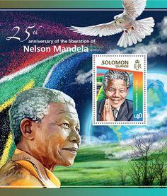 Post stamp Solomon Islands SLM 15116 b25th anniversary of the liberation of Nelson Mandela (1918–2013)