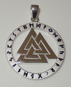 VALKNUT Norse Warriors Knot Pendant 925 Sterling Silver Viking Rune Runic amulet