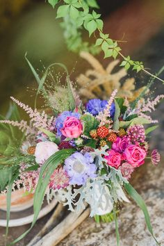amazing colorful bouquet with berries