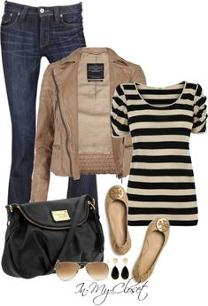 Taupe // Black // Stripes // Flats | elfsacks