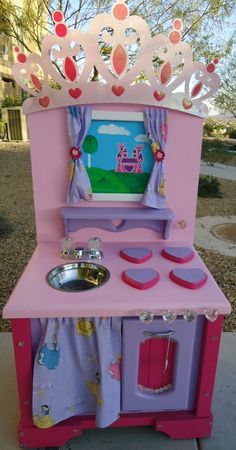 Custom Wooden Princess Play Kitchen by Kid Murals By Dana Railey | CustomMade.com