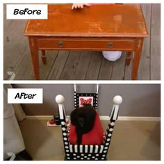 Old table into a cute dog bed. So doing this when I get a dog    http://www.youtube.com/watch?v=tLVAadGaG34=em