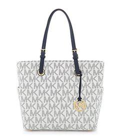Michael Kors East/West Signature Tote Handbag - Navy/White