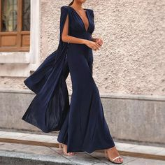 Princegirl Sexy Dark Blue Long Sleeves Jumpsuits,Jumpsuits Jumpsuit Casual, Formal Jumpsuit, Backless Jumpsuit, Jumpsuit With Sleeves, Wedding Jumpsuit, Wedding Dress, Mono Formal, Cocktail Party Outfit, Look Alike