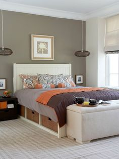 Like the pillows on this bed. Simple with a pop of color.