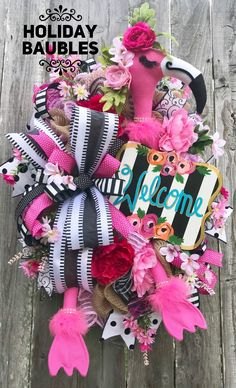 Flamingo Wreath Welcome Flamingo Wreath Summer Wreath Summer Wreath, 4th Of July Wreath, Spring Wreaths, Beach Wreaths, Easter Wreaths, Holiday Wreaths, Wreath Crafts, Diy Crafts, Wreath Ideas