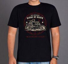 Camiseta Caveira Globo da Morte - Machine Cult | Roupas e acessórios de carro e moto