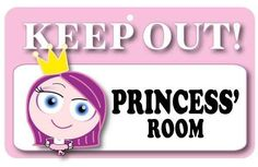 Personalised childrens' door sign with a unique design. Made from laminated cardboard, with an adhesive patch on the back. Features the phrase: Princess Measures 20cm x 12cm Made in England